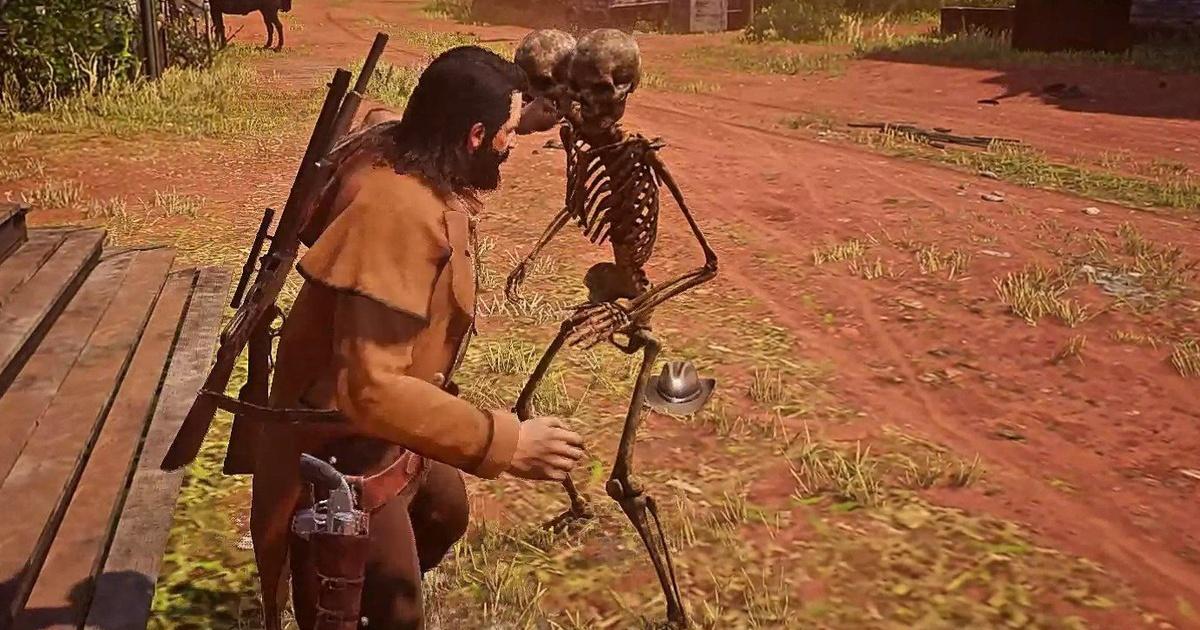 Двухголовый скелет атакует игроков вRed Dead Online