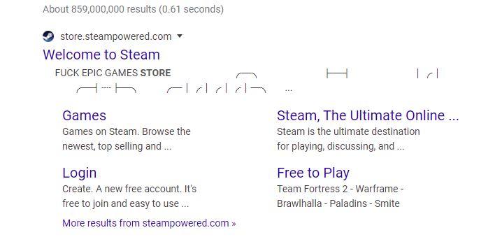 Под ссылкой наSteam была обнаружена надпись