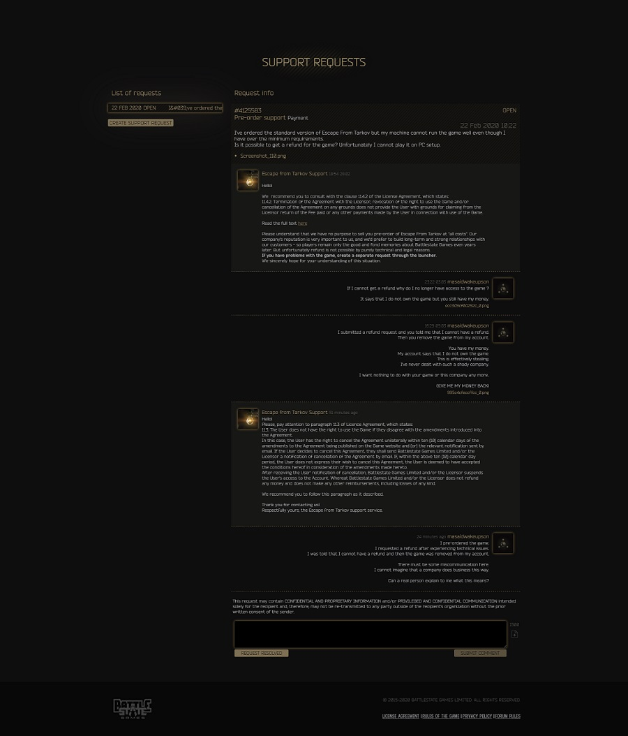 Разработчики Escape from Tarkov отказали игроку ввозврате средств заигру изаблокировали ее